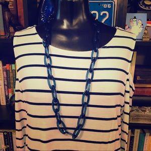 BaubleBar Blue Link & Ribbon Long Necklace